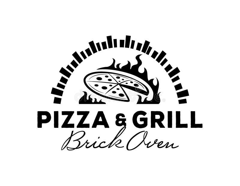 Pizzy & grilla logo z ceglanym piekarnikiem ilustracja wektor