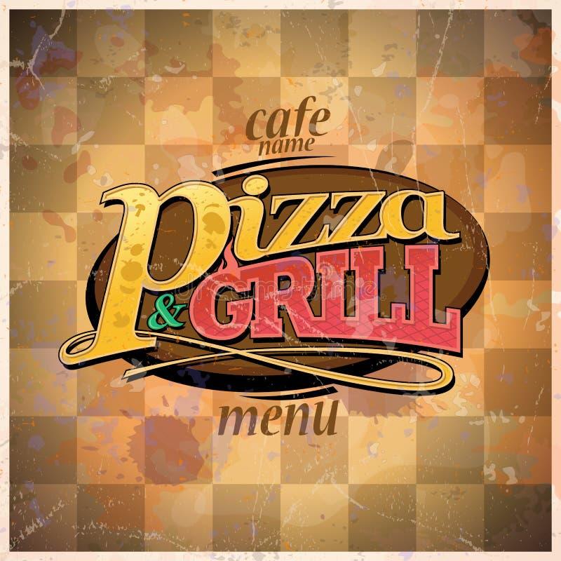 Pizzy i grilla menu royalty ilustracja