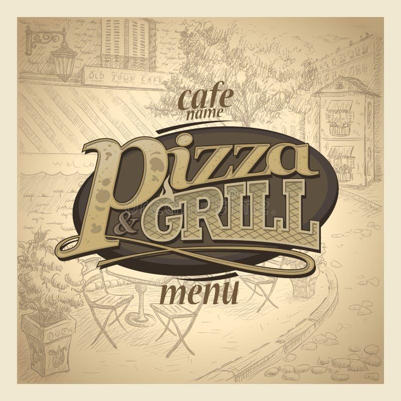 Pizzy i grilla menu pokrywa ilustracji