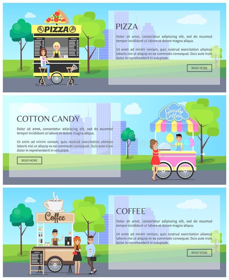 Pizzy i kawy stron internetowych wektoru ilustracja ilustracji
