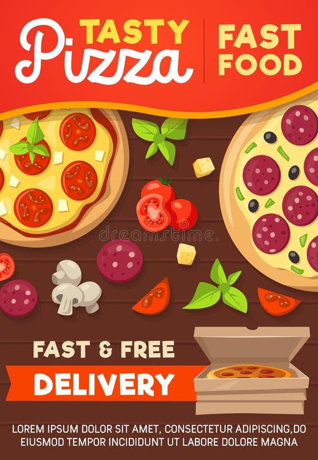 Pizzy i pizzeria doręczeniowy menu, wektor royalty ilustracja