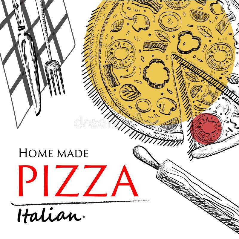Pizzy jedzenia pokrywy rysunku stylu szablon fotografia royalty free
