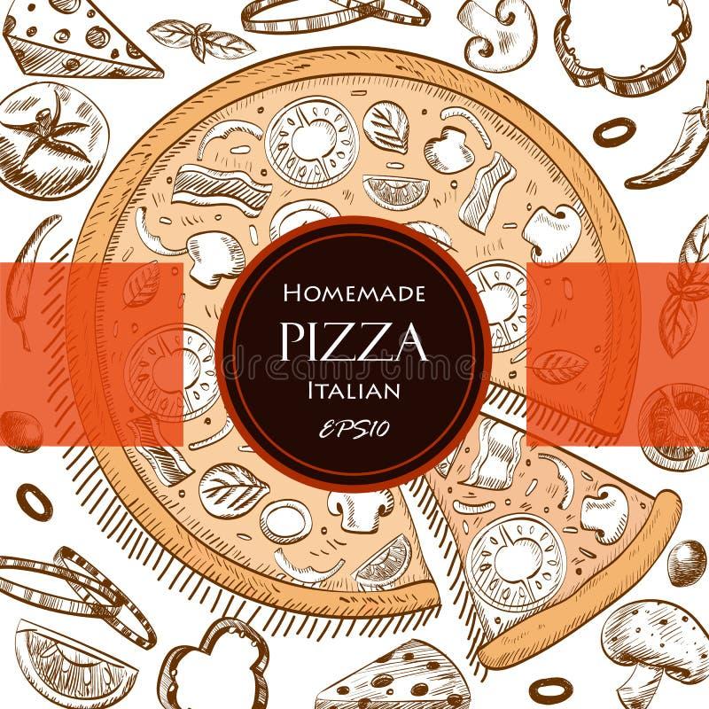 Pizzy jedzenia pokrywy rysunku stylu Włoski szablon fotografia stock