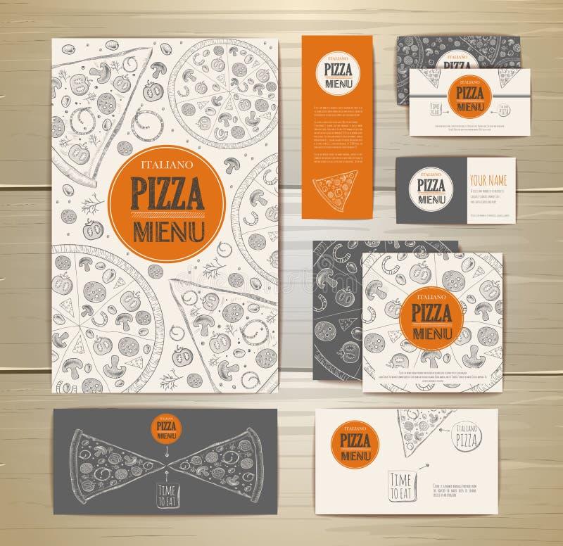 Pizzy korporacyjny idedtity, dokumentu szablonu projekt royalty ilustracja