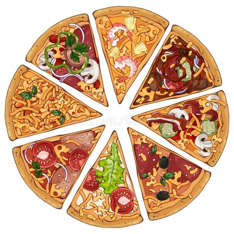 Pizzy mieszanka ilustracja wektor