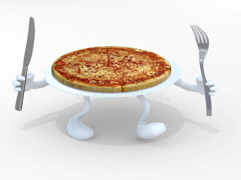 Pizzy naczynie z rękami, nogami i rozwidleniem na ręce, royalty ilustracja