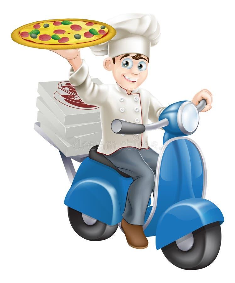 Pizzy szef kuchni moped dostawa ilustracji