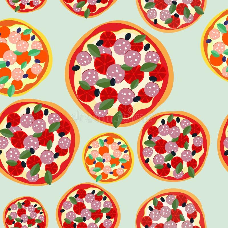 Pizzy Włochy bezszwowy wzór Wektorowy tła jedzenie ilustracja wektor