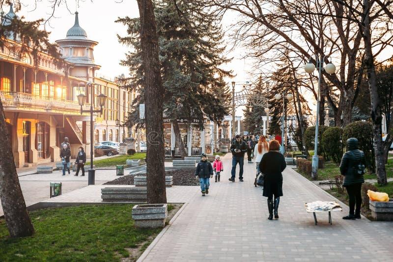 Pjatigorsk, regione di Stavropolsky, Russia - 5 aprile 2018: Giardino floreale fotografie stock