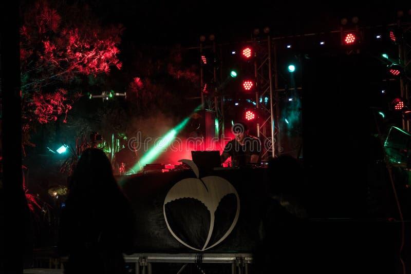 pjeshka音乐节的DJ演奏音乐 免版税库存照片