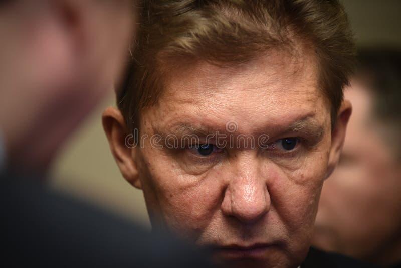 PJSC俄罗斯天然气工业股份公司A管理理事会的主席  磨工 免版税库存照片