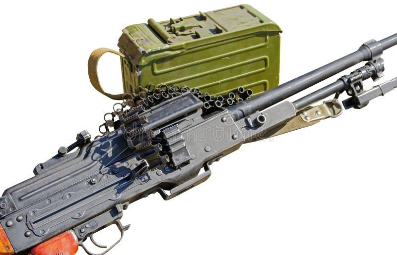 PK Machinegeweerkalashnikov op wit royalty-vrije stock foto's