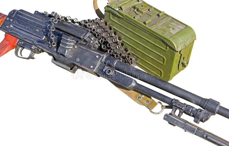PK Machinegeweerkalashnikov op wit stock afbeelding