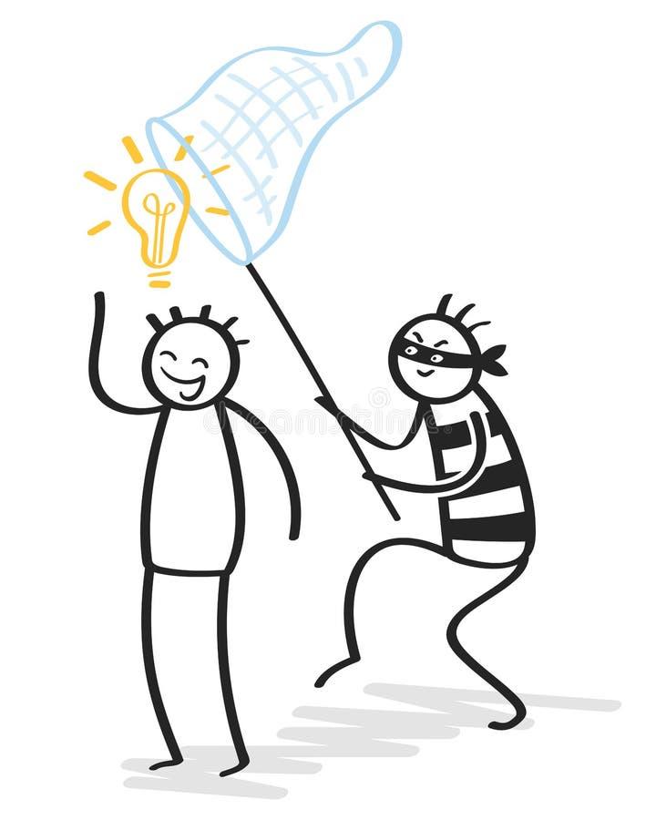 Plágio, copiador, roubo da ideia, figura de vista maliciosa ladrão da vara que rouba a ideia, ampola ilustração royalty free