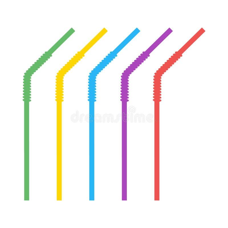 Plástico coloreado, paja acanalada, curvada para los líquidos de consumición Elementos del diseño del vector aislados en fondo li libre illustration