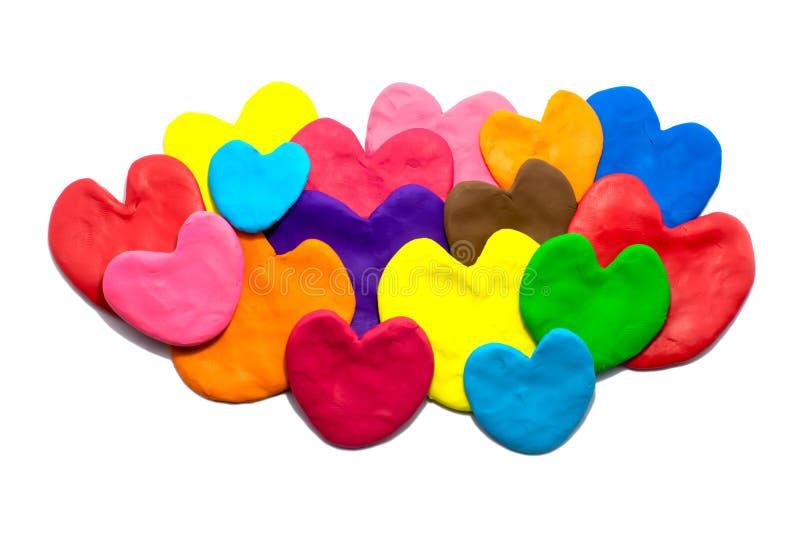 Plástico colorido do coração imagens de stock royalty free