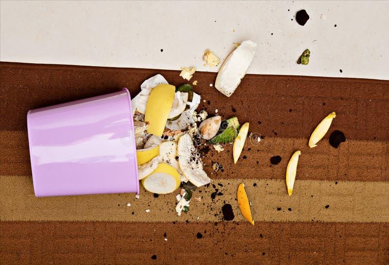 Plástico del rosa trashcan en piso con la basura orgánica dispersada fotos de archivo libres de regalías