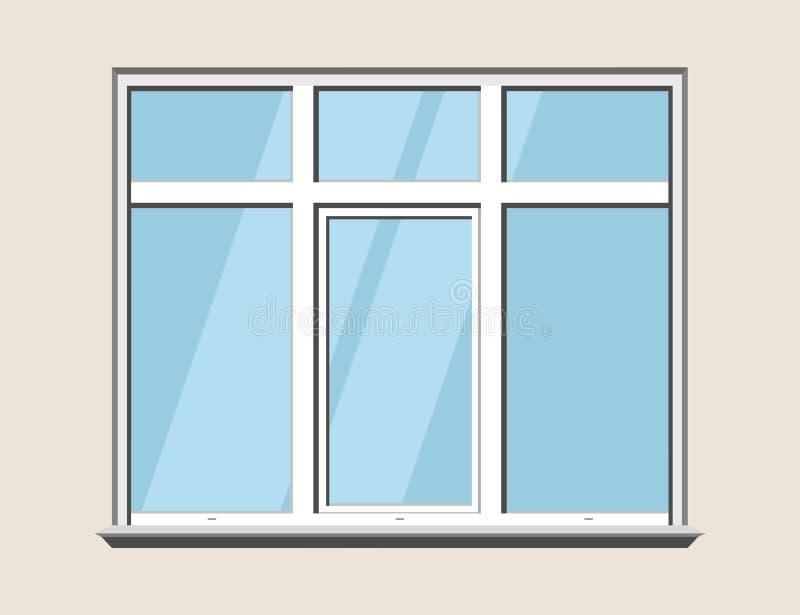 Plástico do clássico da janela Construção de vidro do construstion ilustração royalty free