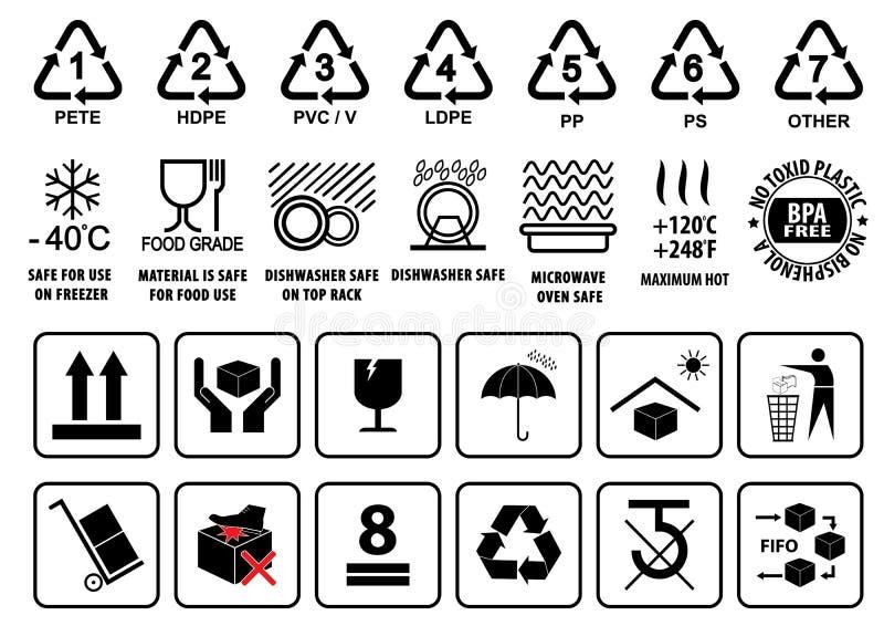 Plástico que recicla símbolos, muestra del vajilla y empaquetado o símbolos de la cartulina imagen de archivo