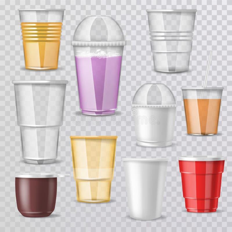 Plástico-taza vacía del vector de cristal plástico o envase de bebidas disponible de la maqueta en blanco de la café-taza para el libre illustration