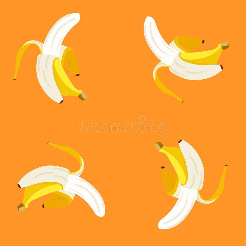 Plátano abierto en modelo anaranjado del fondo ilustración del vector