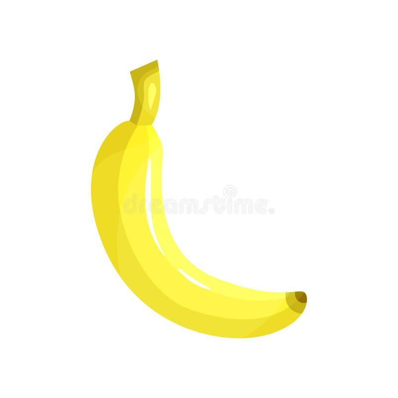 Plátano amarillo brillante de la historieta Producto orgánico y sano Comida fresca y sana Icono de la fruta tropical Ingrediente  libre illustration