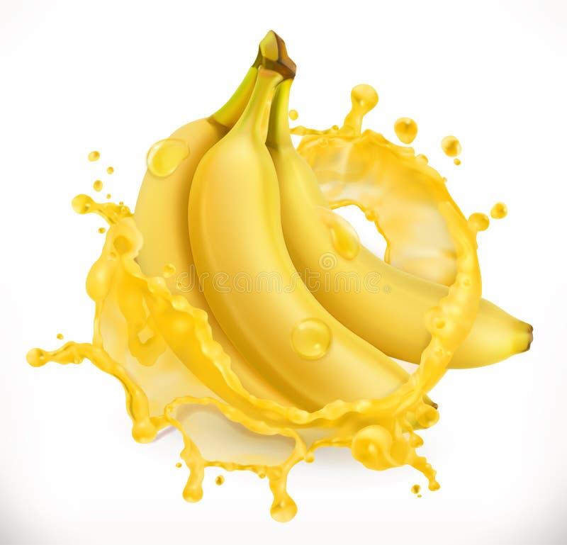 Plátano con el jugo fresco de la leche Fruta fresca, icono del vector libre illustration