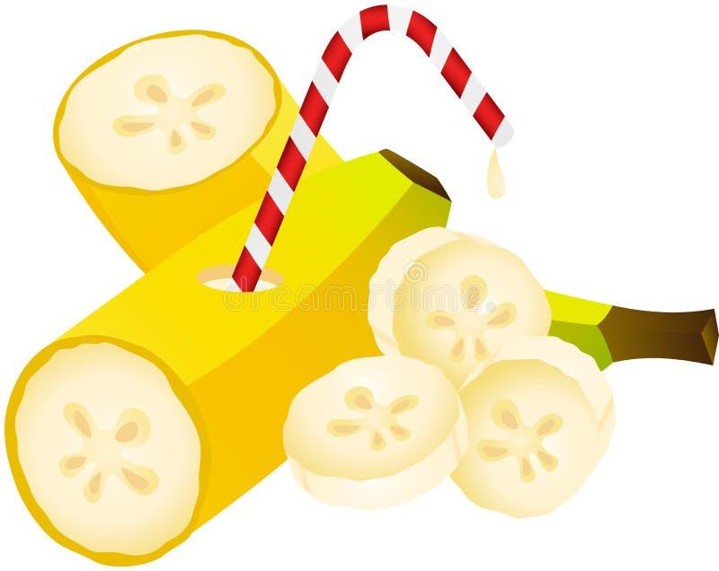 Plátano con la paja stock de ilustración
