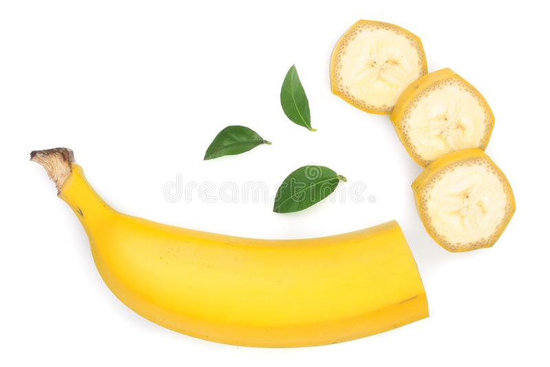 Plátano cortado con las hojas del verde aisladas en el fondo blanco Visión superior Endecha plana fotos de archivo