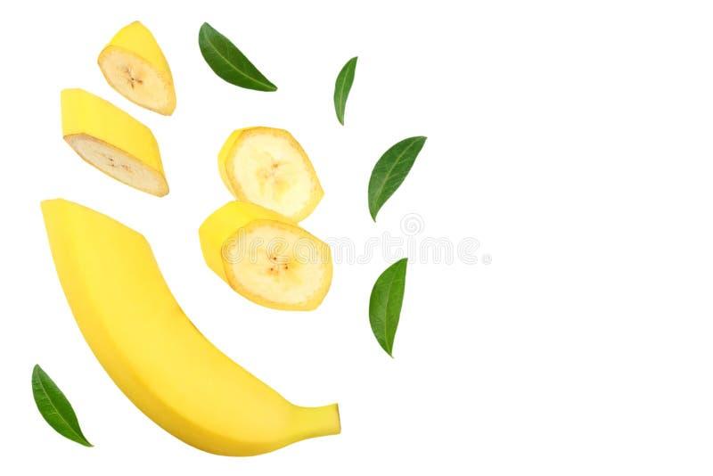 plátano cortado con las hojas verdes aisladas en el fondo blanco Visión superior fotografía de archivo libre de regalías