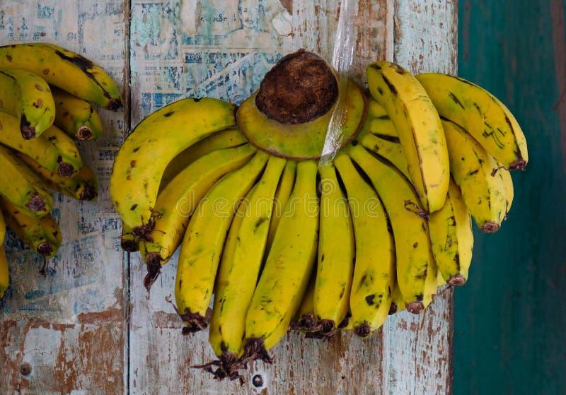 Plátano cultivado para la venta al por menor en el mercado local fotografía de archivo libre de regalías