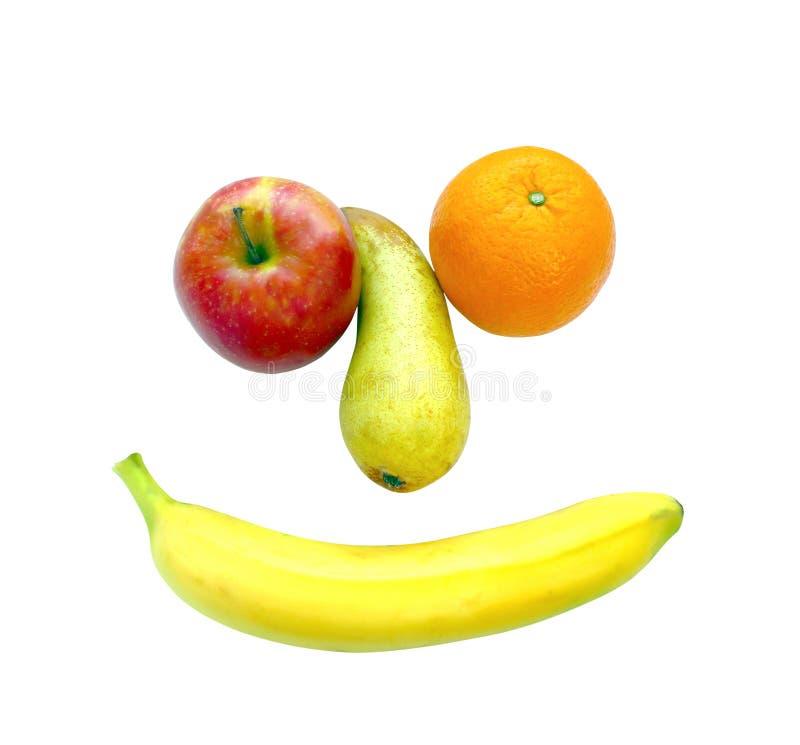 Plátano de manzana anaranjado de la pera aislado en el fondo blanco imagenes de archivo