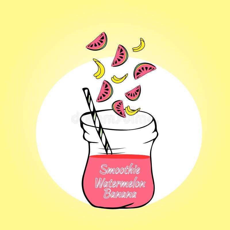 Plátano del Smoothie con la sandía Smoothies sanos de la fruta en estilo del garabato libre illustration