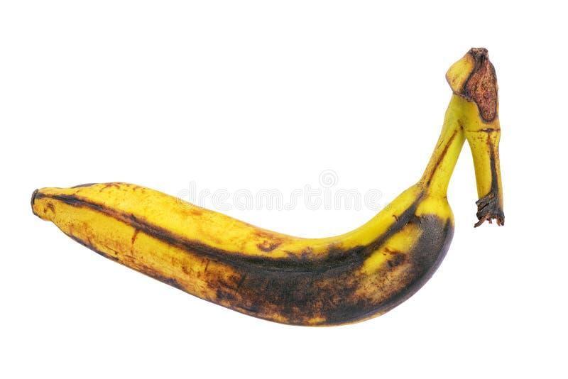 Plátano demasiado maduro marrón putrefacto aislado fotografía de archivo libre de regalías