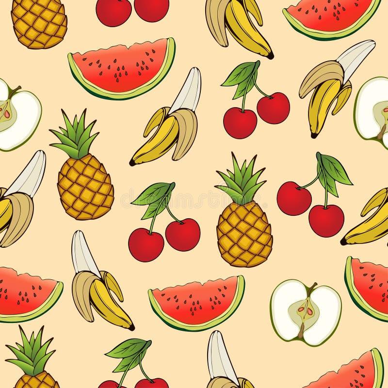 Plátano, manzana, piña, cereza, sandía, modelo inconsútil, fondo de la fruta Dibujando en un beige, historieta, mano Para el de ilustración del vector