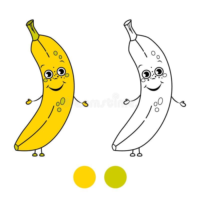 Plátano Página Del Libro De Colorear Ilustración del Vector ...