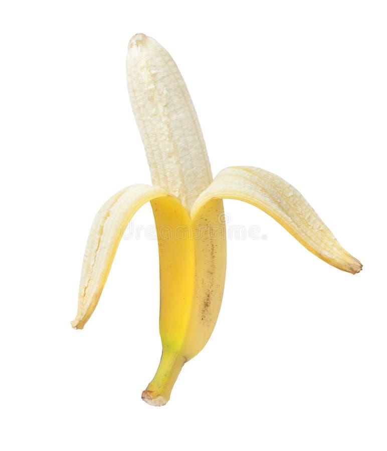 Plátano pelado aislado en el fondo blanco imagenes de archivo