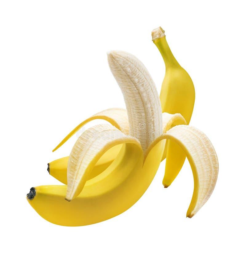 Plátano pelado y sin pelar aislado en blanco imagen de archivo