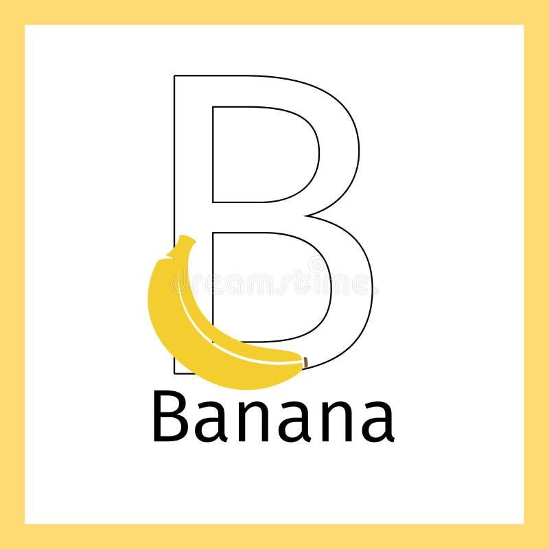 Plátano Y Página Del Colorante De La Letra B Ilustración del Vector ...