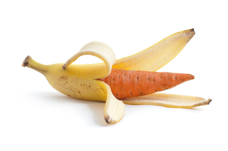 Plátano y zanahoria imágenes de archivo libres de regalías