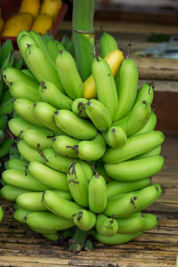 Plátanos crudos en el mercado fotos de archivo