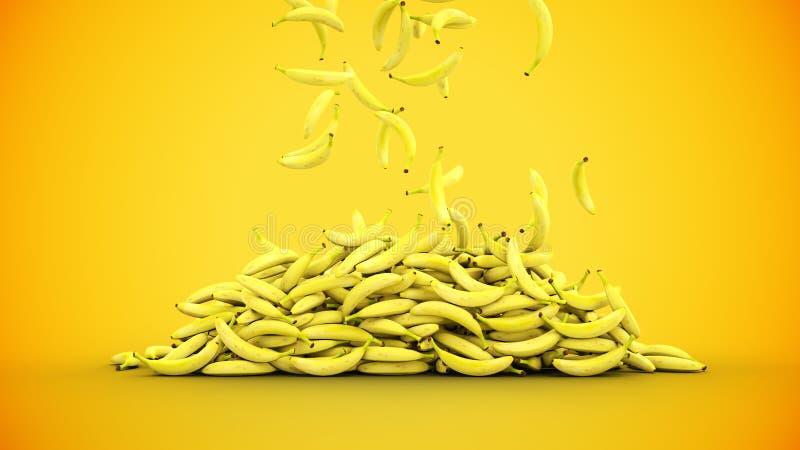 Plátanos frescos que caen con descensos del agua Concepto del alimento representación 3d representación 3d stock de ilustración