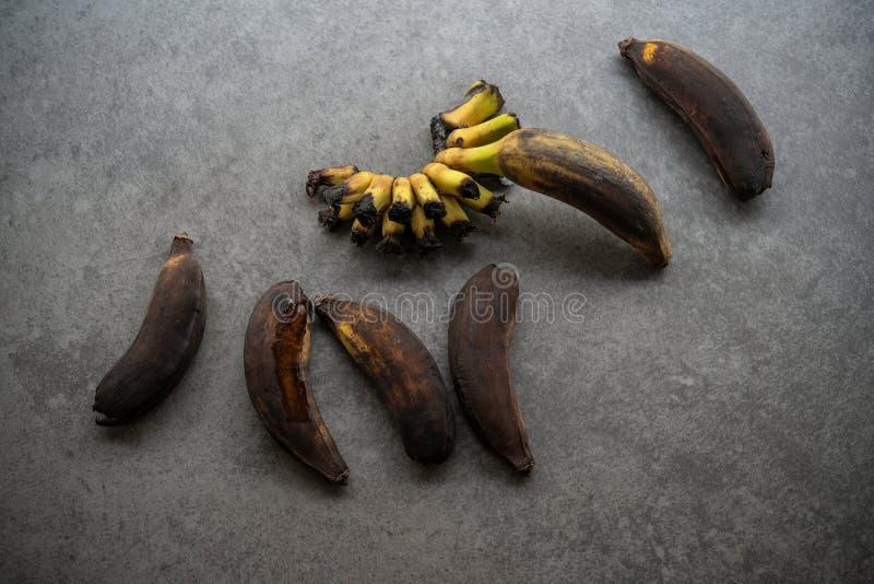 Plátanos putrefactos, demasiado maduros foto de archivo