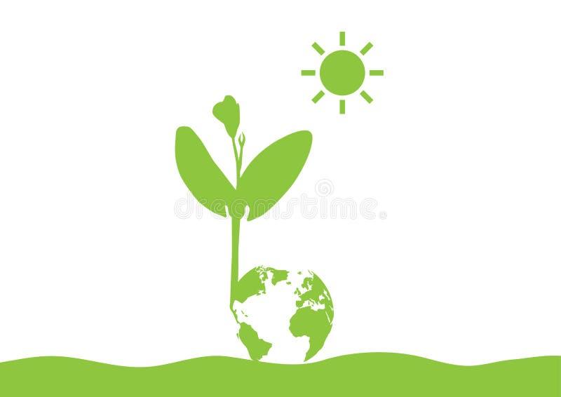Plântula verde do broto com o globo que cresce da terra no fundo branco, conceito ambiental ilustração do vetor