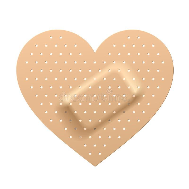 Plâtre dans la forme du coeur illustration de vecteur