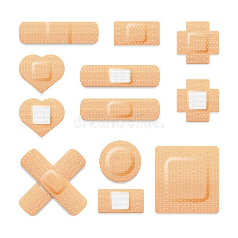 Plâtres médicaux élastiques de bandage adhésif illustration libre de droits