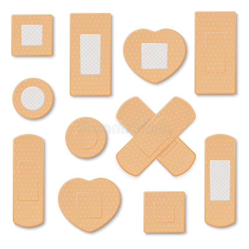 Plâtres médicaux élastiques Illustration de plâtre médical, correction élastique de bandage images libres de droits