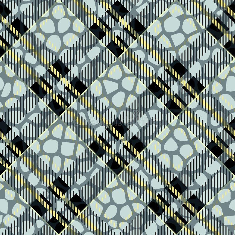 Pläd tartan som är sömlös med läder för krokodilhudmodell Krokodil hud wallpaper Bakgrund monokrom Papper textil Fa vektor illustrationer