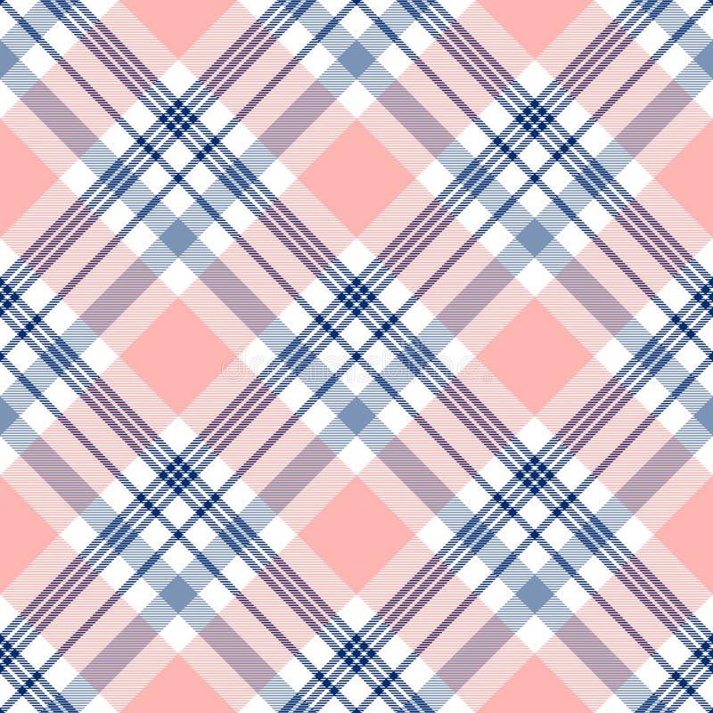 Plädkontrollmodell i marinblått, rosa färger och vit seamless textur för tyg vektor illustrationer