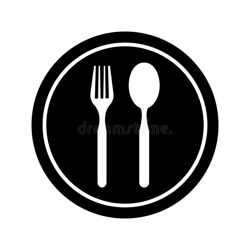 Plätera den symbols-, gaffel- och skedsymbolen Platta-, gaffel- och skedillustrationsymbol vektor illustrationer